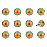 Taj Hotel 12-Piece Hand Painted Round Knob Set in Green/Orange
