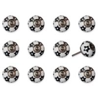 Knob-It 12-Pack Taj Hotel Mushroom Handpainted Vintage Ceramic Knob Set in White/Black