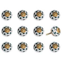 Knob-It 12-Pack Taj Hotel Mushroom Handpainted Vintage Ceramic Knob Set in White/Teal