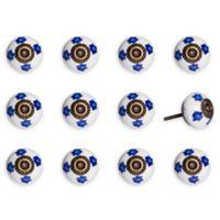 Knob-It Vintage Hand Painted 12-Pack Ceramic Knob Set in White/Blue