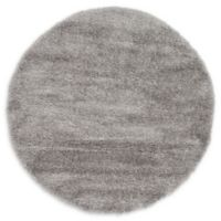 Luxe Solo 6' Round Shag Area Rug in Grey