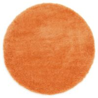 Luxe Solo 6' Round Shag Area Rug in Orange