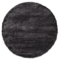 Luxe Solo 6' Round Shag Area Rug in Black