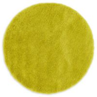 Luxe Solo 6' Round Shag Area Rug in Yellow