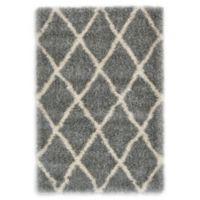 Luxe Trellis 4' x 6' Shag Area Rug in Grey