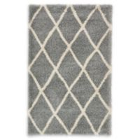 Luxe Trellis 5' x 8' Shag Area Rug in Grey