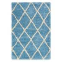 Luxe Trellis 4' x 6' Shag Area Rug in Light Blue