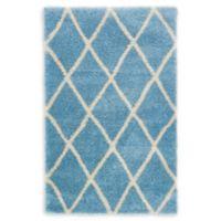 Luxe Trellis 5' x 8' Shag Area Rug in Light Blue