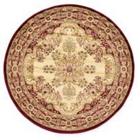 Louis Versailles 6' Round Area Rug in Cream/Red