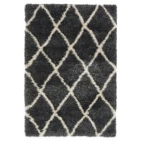 Unique Loom Luxe Trellis 4' x 6' Shag Area Rug in Black