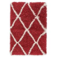 Unique Loom Luxe Trellis Shag 2'2 x 3' Accent Rug in Burgundy