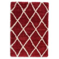 Unique Loom Luxe Trellis Shag 4' x 6' Area Rug in Burgundy