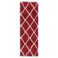 Unique Loom Luxe Trellis Shag 2' x 6' Runner in Burgundy