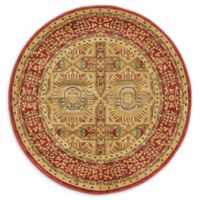 Unique Loom Lincoln Palace 3' Round Powerloomed Area Rug in Red
