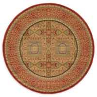 Unique Loom Lincoln Palace 6' Round Powerloomed Area Rug in Red