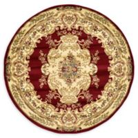 Unique Loom Leon Versailles 6' Round Area Rug in Red