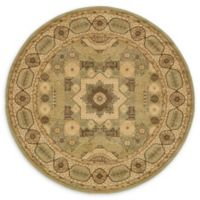 Unique Loom Madison Palace 6' Round Powerloomed Area Rug in Light Green