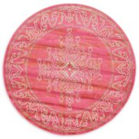 Unique Loom Stockholm 6' Round Area Rug in Pink