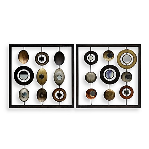 metal circle and square 12 x 12 wall art bed bath beyond. Black Bedroom Furniture Sets. Home Design Ideas