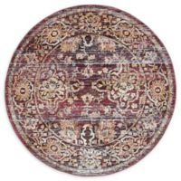 Unique Loom Lexington Milan 5' Round Powerloomed Area Rug in Rust Red