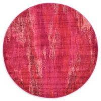 Unique Loom Lilly Barcelona 6' Round Powerloomed Area Rug in Pink
