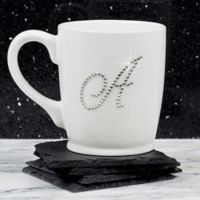 Rhinestone Monogram Mug in White
