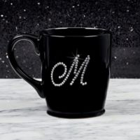 Rhinestone Monogram Mug in Black