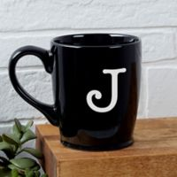 Classic Celebrations Monogram Coffee Mug in Black