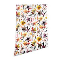 Deny Designs Ninola Yellow Ink Flowers 2-Foot x 8-Foot Wallpaper in White