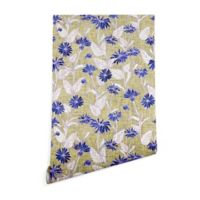 Deny Designs Schatzi Brown Justina Floral 2-Foot x 8-Foot Peel and Stick Wallpaper in Tan