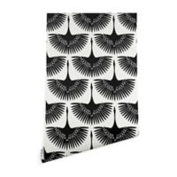 Deny Designs Caroline Okun Majestic Crane 2-Foot x 8-Foot Wallpaper in Black