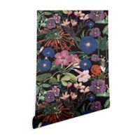Deny Designs Floral Symphony 2-Foot x 10-Foot Peel and Stick Wallpaper in Black