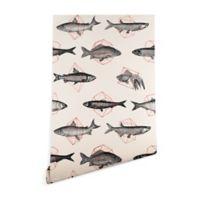Deny Designs Florent Bodart Fishes in Geometrics 2-Foot x 8-Foot Peel and Stick Wallpaper in Beige