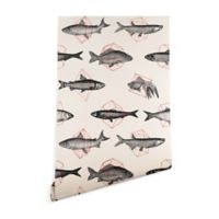 Deny Designs Florent Bodart Fishes in Geometrics 2-Foot x 10-Foot Peel and Stick Wallpaper in Beige