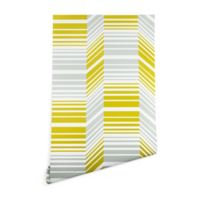 Deny Designs Heather Dutton Delineate Citron 2-Foot x 8-Foot Peel and Stick Wallpaper