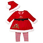 Rudolph the Red Nosed Reindeer Newborn 3-Piece Velour Hat, Dress, and Legging Set