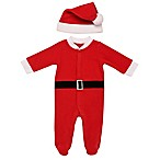 Baby Starters® Newborn 2-Piece Santa Fleece Hat and Footed Coverall Set in Red