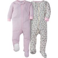 Gerber® Size 6M 2-Pack Leopard Long Sleeve Footies in Grey