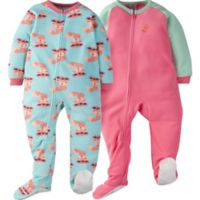 Gerber® Size 3T 2-Piece Furry Foxes Sleep N' Play Footies in Green/Pink