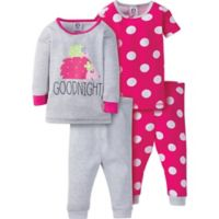 Gerber® Size 12M 4-Piece Hedgehog Polka Dot Pajama Set in Grey/Pink
