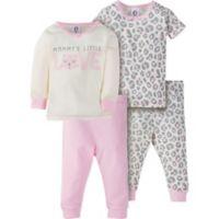 Gerber® Size 12M 4-Piece Leopard Pajama Set in Ivory/Pink