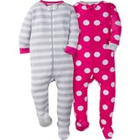 Gerber® Size 6M 2-Pack Dots Long Sleeve Footies in Pink