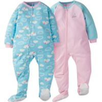 Gerber® Size 2T 2-Pack Clouds Long Sleeve Blanket Sleepers in Green/Pink