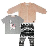 Mini Heroes Newborn 3-Piece Llama Top, Jacket and Legging Set in Grey