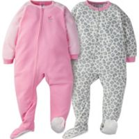 Gerber® Size 5T 2-Pack Leopard Sleep & Play Footies in Grey/Pink