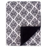 Hudson Baby® Classic Damask Blanket with Sherpa Backing in Pink