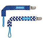 BooginHead® PaciGrip 2-Pack Pacifier Straps in Blue Chevron/Dot