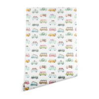 Deny Designs Dash and Ash Buses and Plants 2-Foot x 8-Foot Peel and Stick Wallpaper