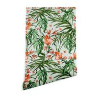 Deny Designs Marta Barragan Camarasa Exotic Flower 2-Foot x 10-Foot Wallpaper in Green