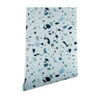 Deny Designs Mareike Boehmer Scandinavian Terrazzo 2-Foot x 8-Foot Peel and Stick Wallpaper in Blue